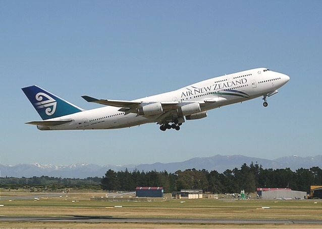 Air New Zealand Boeing 747-400 departs from Christchurch International Airport, New Zealand