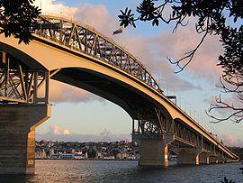 Auckland harbour bridge from North Shore City.