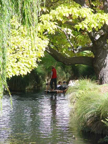 Christchurch Punting down the Avon River