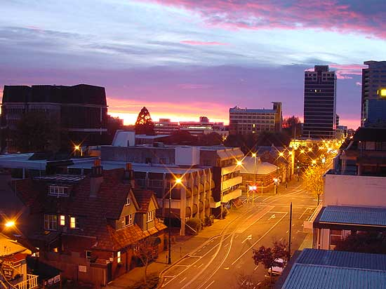 Sunrise from City Apartments Overlooking Armagh Street