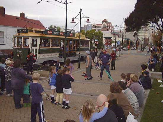 Christchurch Tram and street performers