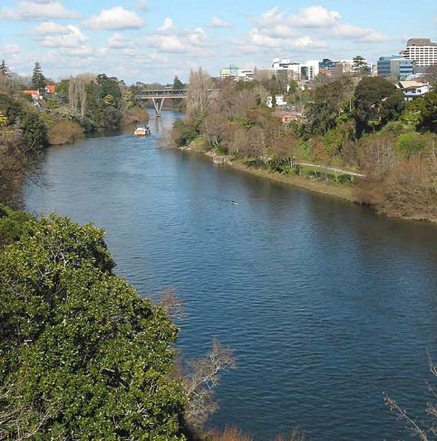 Waikato River passing through Hamilton, New Zealand