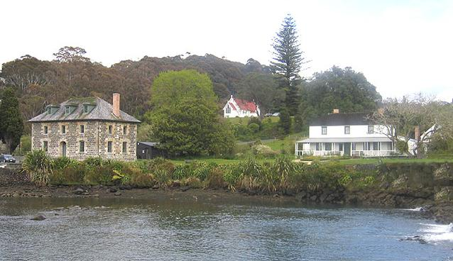 Kerikeri Stone Store on the left, St James at the rear, and Kemp House on the right