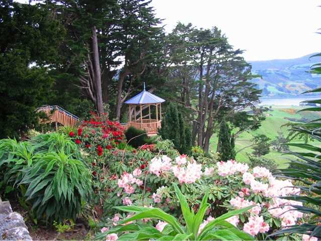 Photograph of the Larnach Castle grounds in summer