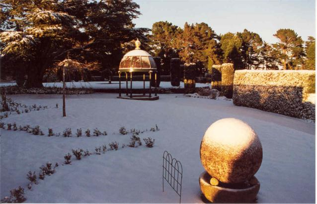 A cupola in the grounds of Larnach Castle in winter
