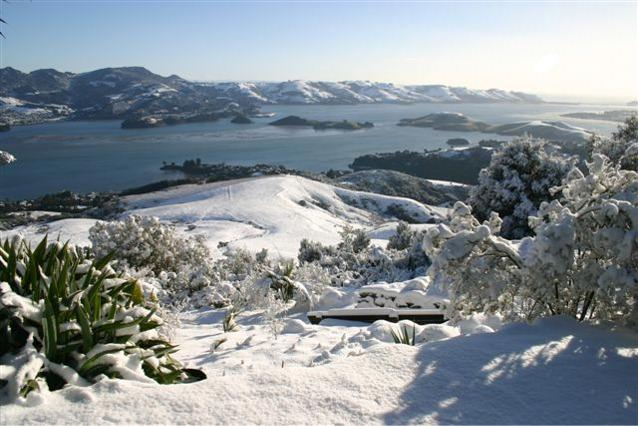 Photograph of Otago Peninsula from the grounds of Larnach Castle in winter