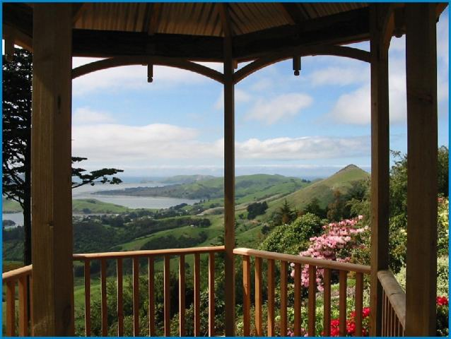 Larnach's Castle grounds in summer with the flowers in full bloom