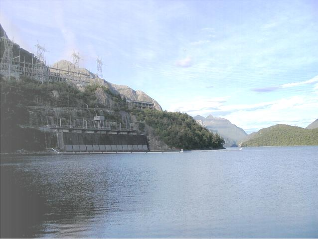 Switchyard and water intake of Manapouri Power Station - Feb 2005