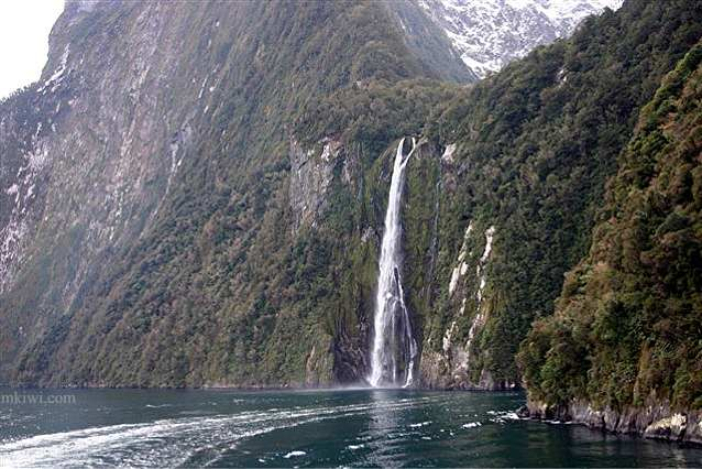 A waterfall at Milford Sound New Zealand