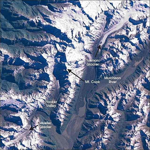 Satellite Image of Mount Cook New Zealand