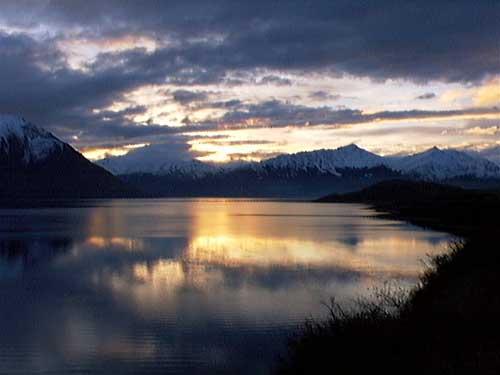 Sunset over Lake Wakatipu, New Zealand
