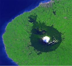 Satellite image of Mount Taranaki from the NASA Earth Observatory