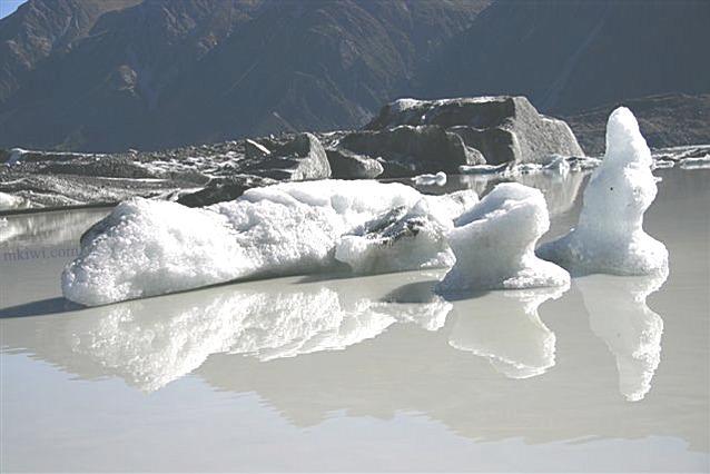 Ice at the Tasman Glacier, New Zealand