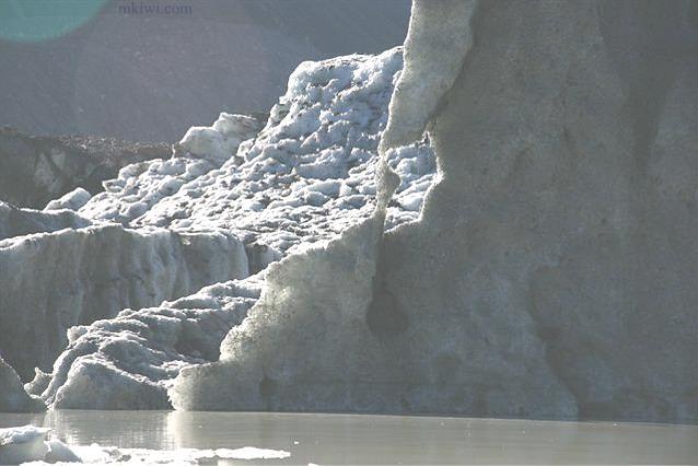 Ice at the Tasman Glacier in New Zealand