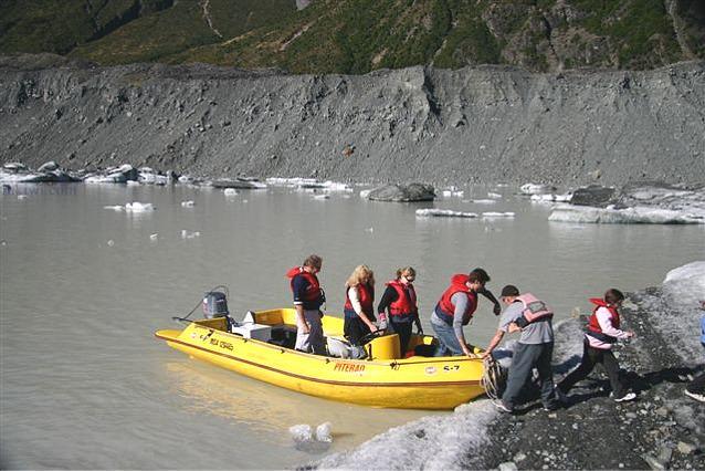 Tourists Landing at the Tasman Glacier, New Zealand