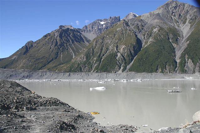 Tourists Boat at Tasman Glacier