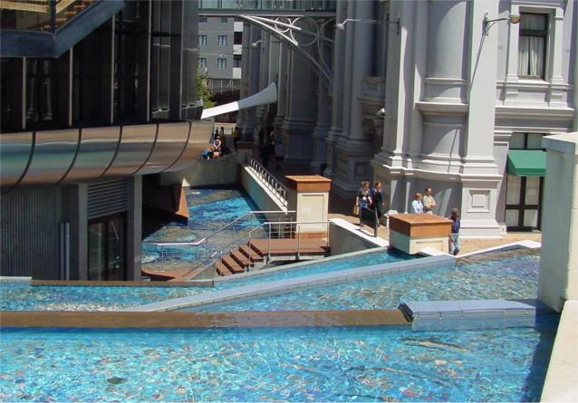 A water feature which is located between the Wellington Town Hall and the Michael Fowler Centre