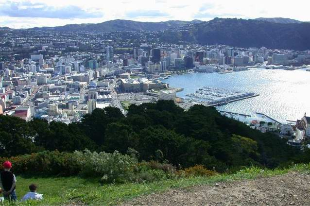 Wellington New Zealand from the top of Mount Victoria
